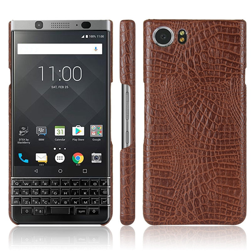 For BlackBerry Keyone Mercury DTEK70 Crocodile PU Leather Skin Hard PC Back Cover Protective Phone Case