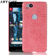For Google Pixel 2 Pixel2 Luxury Crocodile PU Leather Skin Hard Back Cover Phone Case
