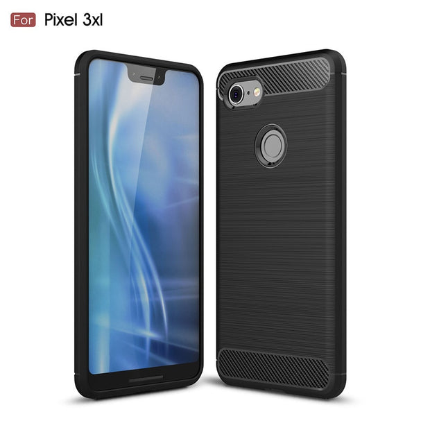 For Google Pixel 3 / 3 XL Case Brushed Carbon Fiber Shockproof TPU Protective Cover For Pixel 2 / 2XL Soft Silicone Capa Coque