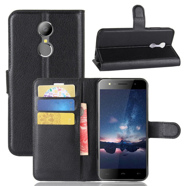 For Homtom HT30/HT37/HT27/HT7 PU+TPU Lychee Texture Flip Case/With Card Pocket/Kickstand