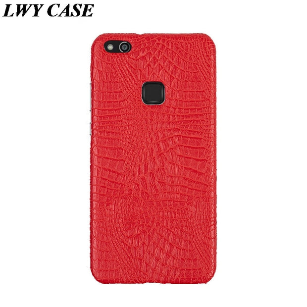 For Huawei P10 Lite Luxury Crocodile PU Leather Skin Hard Back Cover Protective Phone Case For Huawei Nova Lite