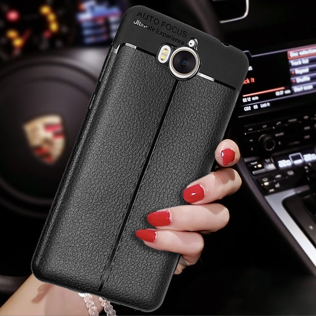 For Huawei Y5 2017 Case Soft Silicone TPU Litchi Leather Cases Back Cover For Huawei Y6 2017 MYA-L22 MYA-L23 MYA-L03 Phone Cases