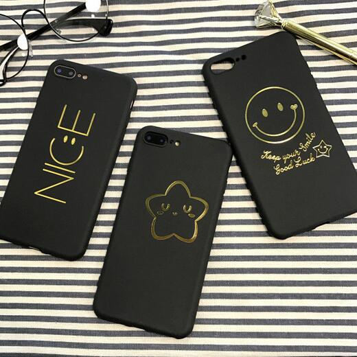 For Iphone 8 7 7plus Case Kawaii Nice Smile Star Black Cover For Iphone7 6 S 6s Plus 6plus Cell Phone Cases Coque Funda Black