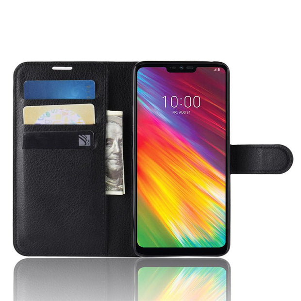 For LG G7 Fit/V40 ThinQ/X Power3/Q7/G7/K10 2018/Q8/V30 PU+TPU Lychee Texture Flip Case/With Card Pocket/Kickstand