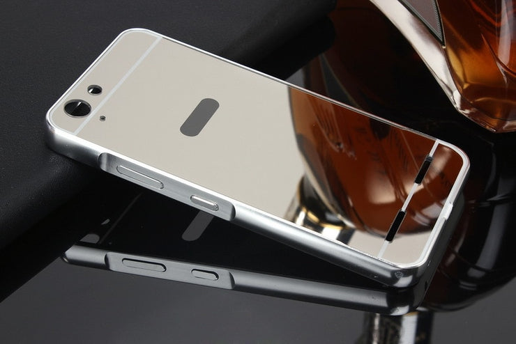 For Lenovo K5 Note A7020 Plating Metal Mirror Aluminum Frame PC+Acrylic Case On For Lenovo Vibe K5 A6020/ K5 Plus Lemon 3 K32C36