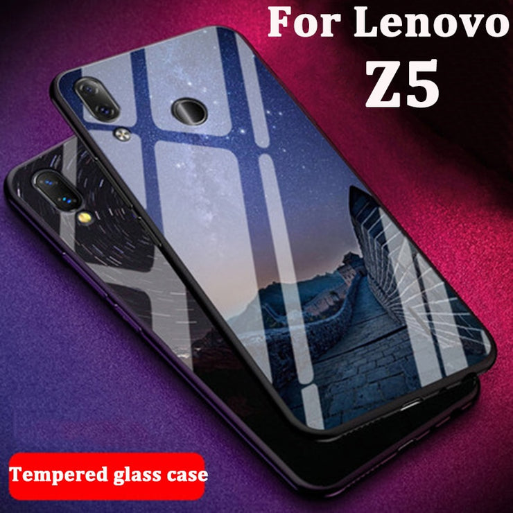 new style 6f090 9de08 For Lenovo Z5 Case Phone Cases Skin Cute Cartoon Tempered Glass Cover For  Lenovo L78011 Case Protection Shell LenovoZ5 Coque