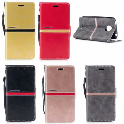 For Motorola Moto C Plus Case Flip Cover Brand Leather Wallet Stand Card Holder Photo Frame Mobile Phone Bags