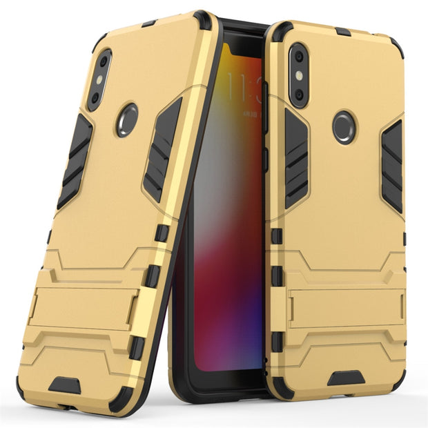 For Motorola Moto One Power Case 6.2 Inch Luxury Stealth Stents Back Cover Stand Protective Case For Moto P30 Note Phone Cases