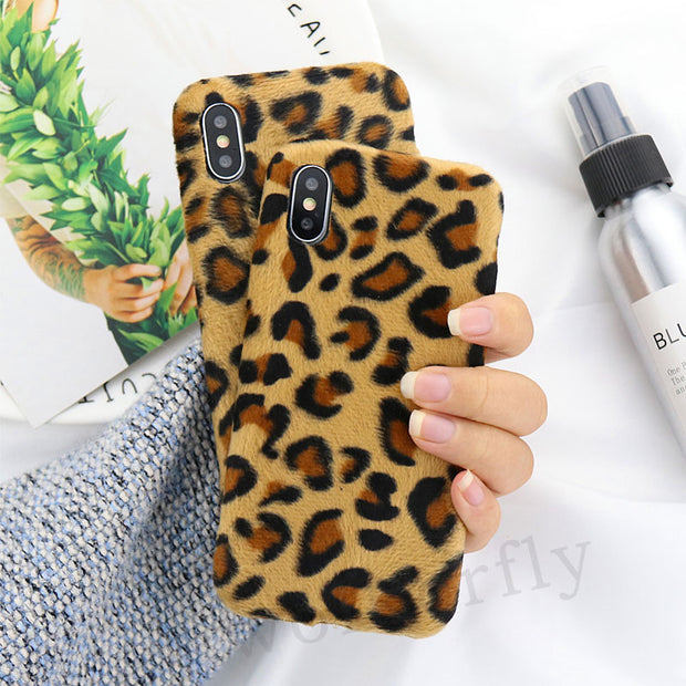 For Oneplus 5T 6T Case Leopard Print Warm Plush Phone Case For Oneplus 6 6 T For One Plus 5 5 T Protective Case Silicone Cover