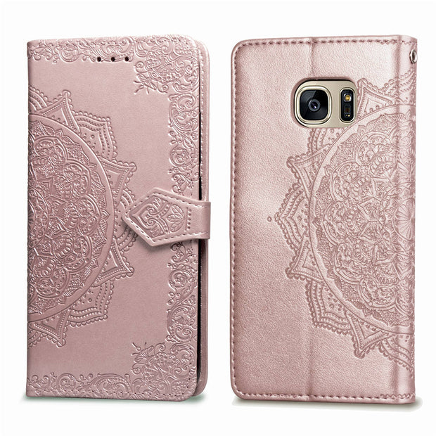 For SAMSUNG S7 Case Flip Leather Mandala Flower Phone Case Cover Coque