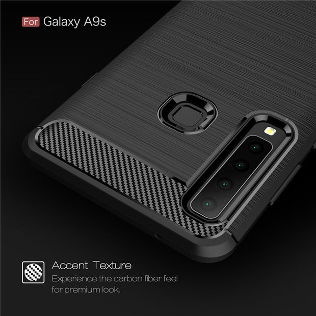 For Samsung Galaxy A9 2018 A9S Case Soft Anti-knock Carbon Fiber Brushed TPU Back Cover For A9 Pro 2018 A920 Rugged Armor Coque