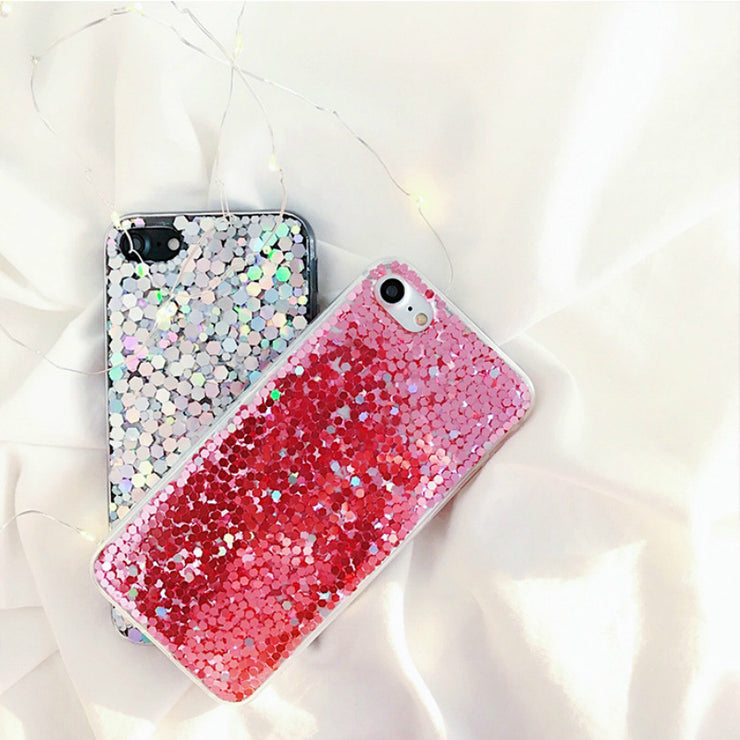 For IPhone 7 7Plus Phone Case Laser Shinning Sequins Cases Luxury Back Cover For IPhone 6 6s 7 8 Plus X Glitter Bling Cover Capa