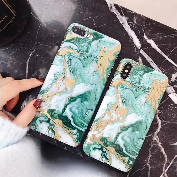 For IPhone X XR XS Max Case Gold Luxury Black Marble Cases For IPhone 7 Case Green For IPhone 6S 6 7 8 Plus Hard Plastic Cover