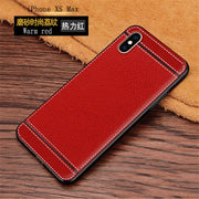 For IPhone XS Max Case 6.5'' PU Leather Texture Soft TPU Case For IPhone XS Max Cover Black TPU For IPhone XS Max Leather Case