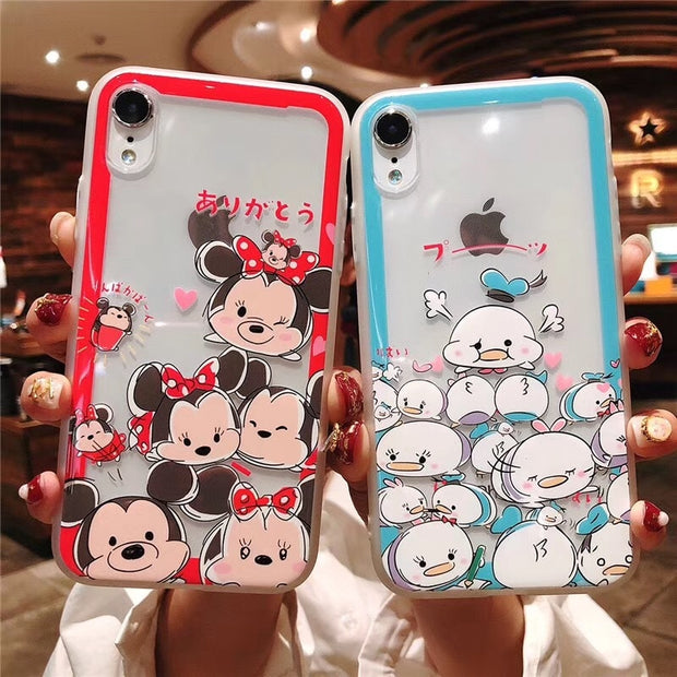 For IPhone XS Max XR X Stitch Winnie Pooh Kitty Minnie Mouse Duck Transparent Embossed Cover Case For IPhone 6 6S 7 8 Plus
