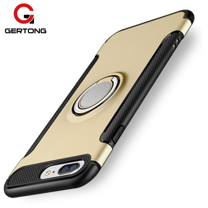 GerTong Phone Case For IPhone 8 X 7 6 6S Plus 5S 5 SE Protective Armor Cover Finger Ring PC + TPU Shell For IPhone 8 X Back Capa