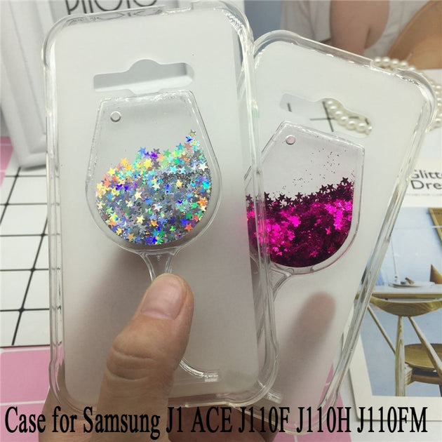 Glitter Quicksand Phone Cases For Samsung Galaxy J1 ACE SM-J110F J110H  J110FM Case Bling Cute Srtars Soft Silicon Back Cover 3D