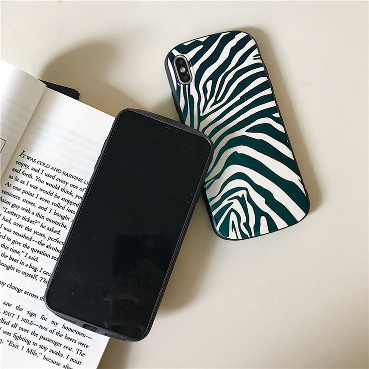 Glossy Zebra Pattern Phone Case For IPhone X XS XR MAX Blue Light Back Cover Soft TPU Cases For IPhone 6 8 8plus 7 6S Plus
