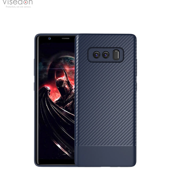 H-shilrey Silicone Carbon Fiber Cell Mobile Phone Cover Anti-collision Phone Shell Case For Samsung Galaxy Note 8