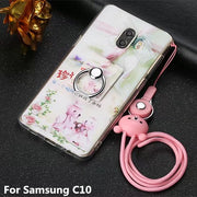 "High Quality Lovely 3D Cartoon Pattern Painted Soft TPU Protective Cases For Samsung Galaxy C10 Phone Cover With Ring 6.0"" Coque"