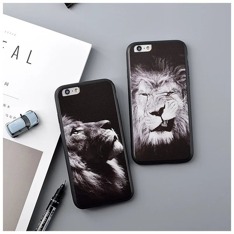 Hot Silk Grain Lion Black Tpu Soft Case For IPhone 7 Case 7 Plus Cover For Iphone 6 Case 6s 6 Plus 4.7 5.5
