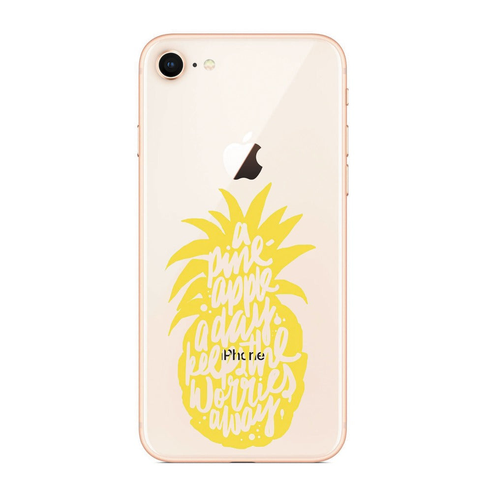 Interesting Cartoon Pineapple Colorful Food Phone Cases For Iphone 8 7 7Plus 6 6SPlus 5S SE X Silicon Transparent Soft Case
