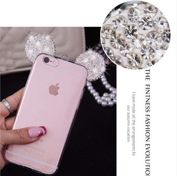 JAMULAR Diamond Mickey Mouse Case For IPhone 6 6s Plus Rhinestone Soft TPU Cover For Iphone 8 7 Plus Cases Cartoon Fundas Capa