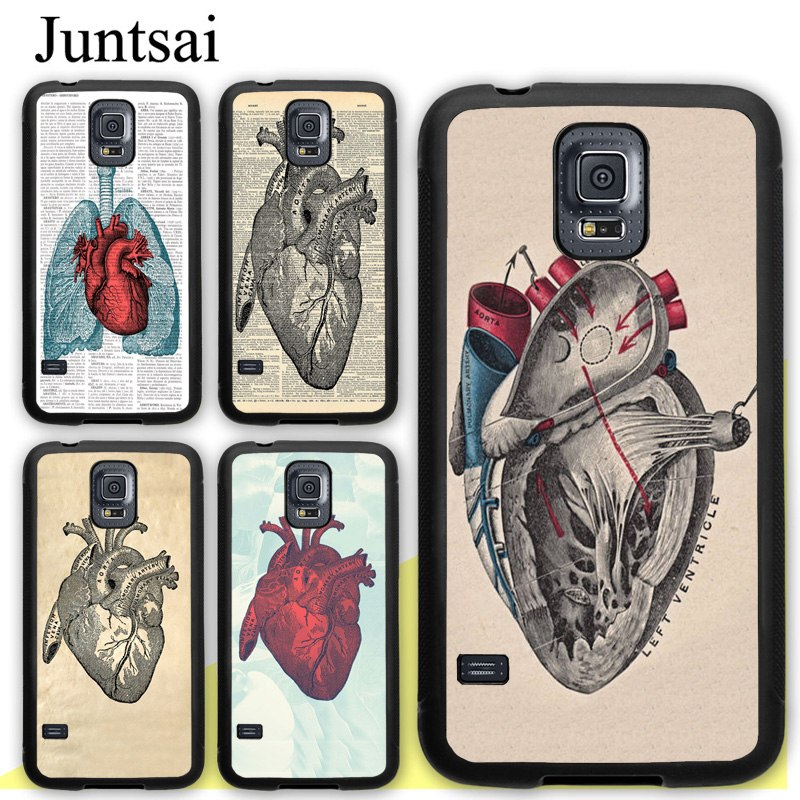 Juntsai Anatomical Heart Anatomy Soft Rubber Case For Samsung Galaxy S8 S9 Plus S5 S6 S7 Edge Note 8 4 5 Phone Cases