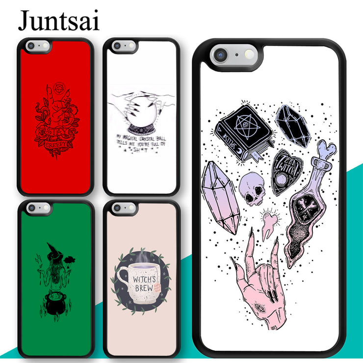 reputable site ecf52 dbcde Juntsai Witch Aesthetic Art Phone Case For Iphone X XR XS MAX 5 5s SE 6 6s  7 8 Plus TPU Back Cover Coque For Iphone 7Plus
