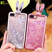 KL-Boutiques 3D Cute Rabbit Liquid Glitter Case For Samsung Galaxy S8 S8Plus Quicksand Stand Phone Cover SFor Samsung S 8 Plus