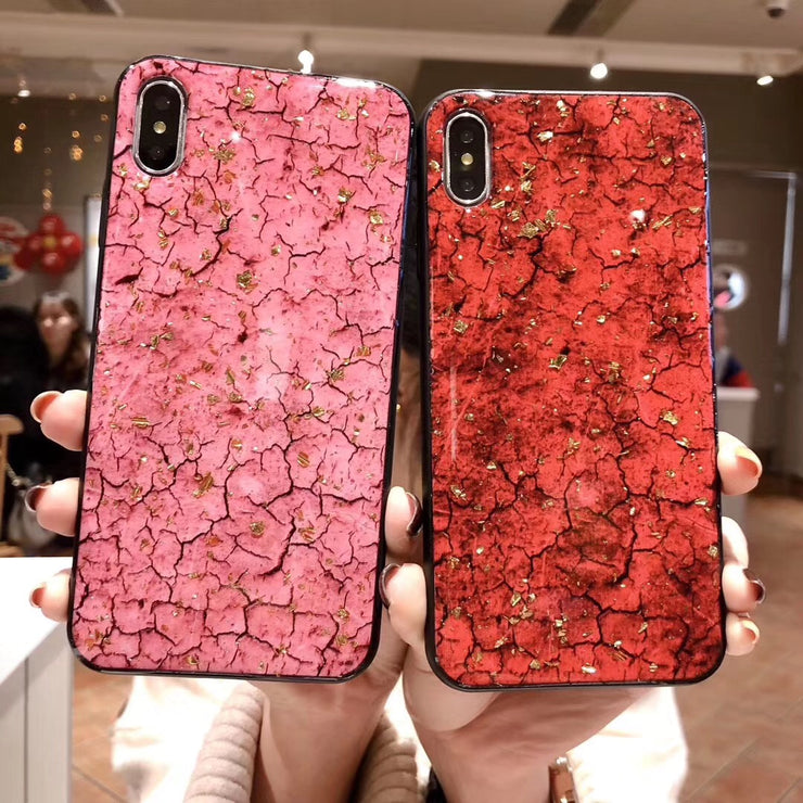 71b5468ce85 Kerzzil Gold Foil Silicone Case For IPhone X XS XR Max Bling Crack Marble  Case Cover