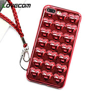 LOVECOM Chinese Red Candy Color 3D Love Heart Soft TPU Phone Case For IPhone 6 6S 7 8 Plus X Shockproof Back Cover With Strap