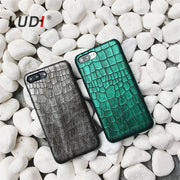 LUDI Green & Grey Sequins Crocodile Skin Case For IPhone X/8/7/8plus/xs/xr Max Hard PU Case For IPhone6s Plus 6 6s 7plus 6Splus