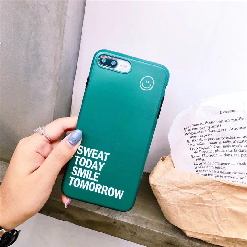 Ludi Hipster Simple Quotes Phone Case For Iphone 7 Case For Iphone X 6 6s 7 8 Plus Soft Silicon Green White Couple Phone Covers