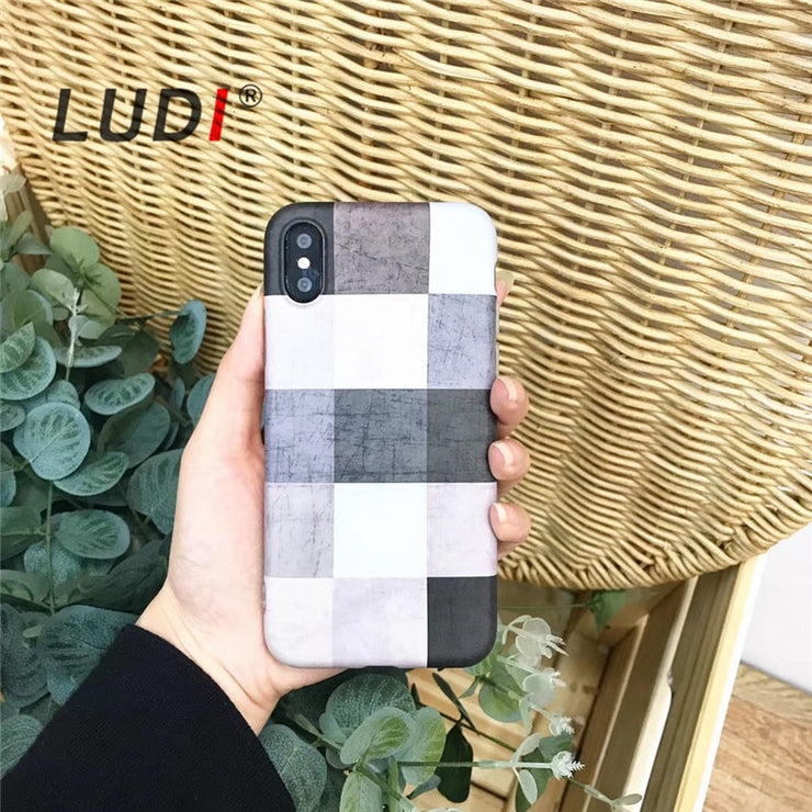 LUDI Korean Simple Grey Grid Phone Case For IPhone X 7 7/8plus Soft TPU Hipster Cover For IPhone 6 6Plus 6s 6sPlus