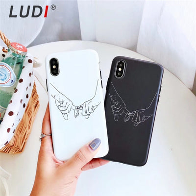 LUDI Vintage Holding Hands Phone Case For IPhone 8 Case For IPhone X 6 6S 7 8 Plus Soft Silicon Black White Couple Fundas Capas
