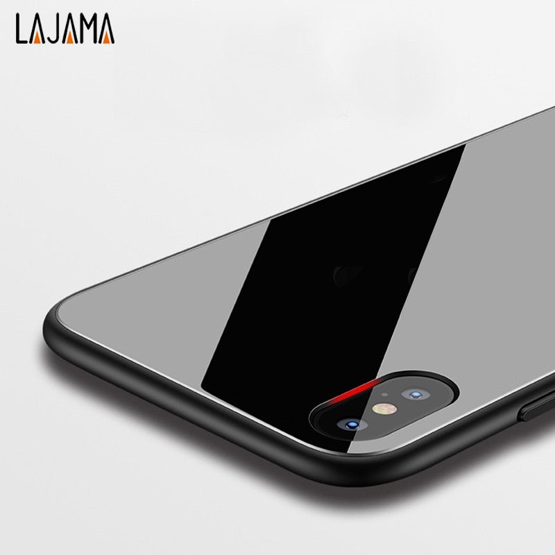 Lajama Luxury Tempered Glass Phone Case For IPhone 6 6S 7 8 Plus Anti-scratch Silicone Protector Glass Back Cover For Iphone X