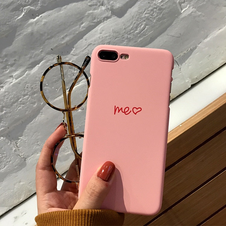 Letter YOU & ME Print Couples Phone Case For IPhone X 7 8 6 6S Plus 5 5S SE Case Cute Cartoon Love Heart Cover Ultra Thin Hard
