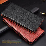 Litchi Genuine Leather Magnet Stand Flip Cover Case For Xiaomi Pocophone F1 Luxury Mobile Phone Case & 1 Card Holder
