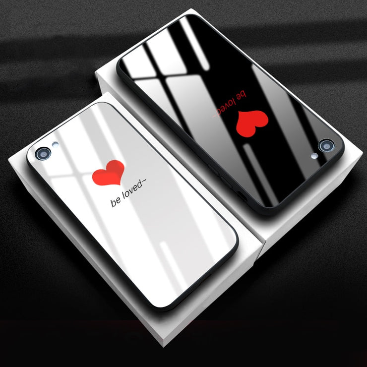 82022cba0a Love Heart Tempered Glass Phone Case For IPhone X 8 7 Plus Fashion Couples  Cute Mirror