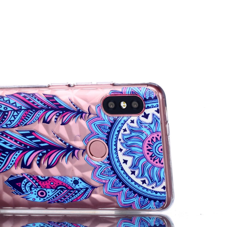 Luxury 3D Relief Varnish Diamond Pattern Phone Soft Silicone TPU Case Cover Shell Hull Coque Funda For Xiaomi Redmi Note 5 6 Pro