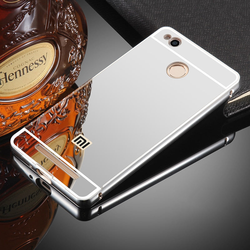 Luxury Aluminum For Xiaomi Redmi 3 Pro Case Phone Cases Metal Bumper Mirror Plastic Back Cover For Xiaomi Redmi 3s S 3X Case 5.0