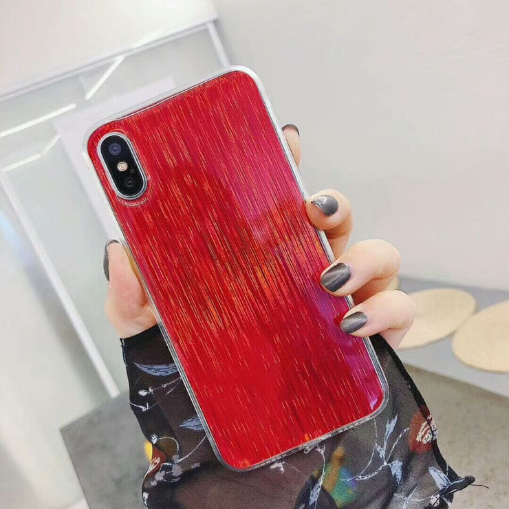 Luxury Bling Brushed Pattern Silicone Mirror Case For IPhone X 8 8 Plus 7 7 Plus 6 6s Case Back Cover Shell Fundas Coque Capa