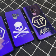 Luxury Blue Light PHILIPP PLEIN Tempered Glass Phone Case For Samsung Galaxy Note 8 9 S8 S9 Plus Mastermind Cover Coque Fundas