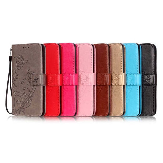 Luxury Butterfly Embossed Magnetic Leather Soft Wallet Card Holder Stand Case Cover For LG Leon 4G Lte H340N C40