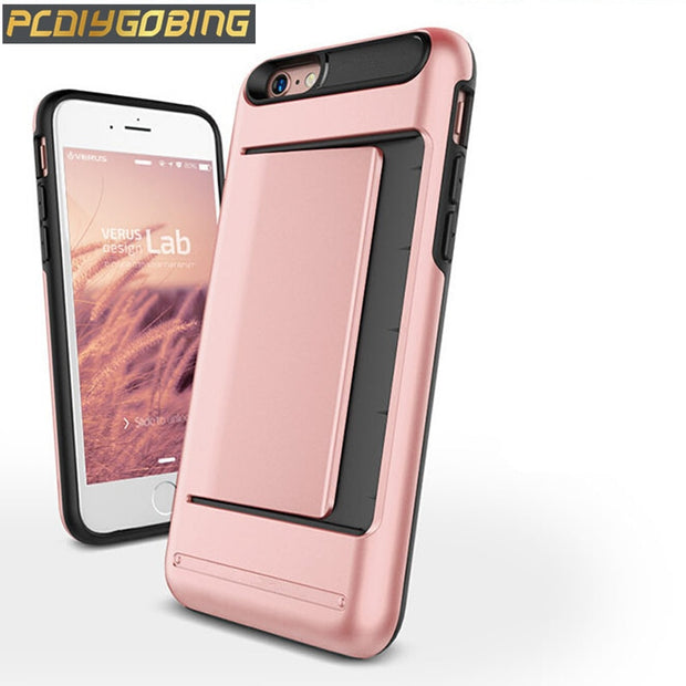 Luxury Card Slot Shock Proof Skin Phone Cover Hybrid Armor Case For Apple IPhone SE 5 5S / 6 6S / 6 Plus 6S Plus