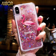 Luxury Cartoon Pink Flamingo Bird Feather Clear Glitter Dynamic Liquid Quicksand Case For Huawei P20 Pro P20 Lite NOVE 2S 3 3E