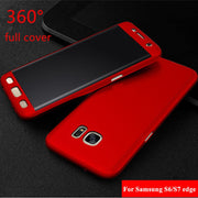 Luxury Cases For Samsung Galaxy S6 Edge S7 Edge 360 Degree Full Body Protection Matte PC Phone Cover Case +Screen Protector Film