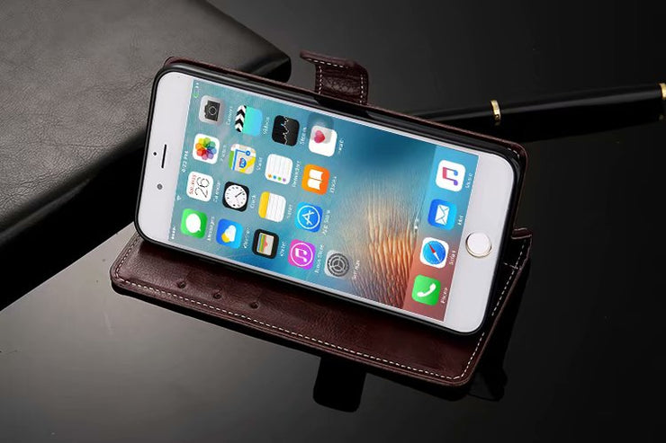 buy popular 1c423 122af Luxury Flip Leather Wallet Case For IPhone 8 With Stand Holder +Card ...