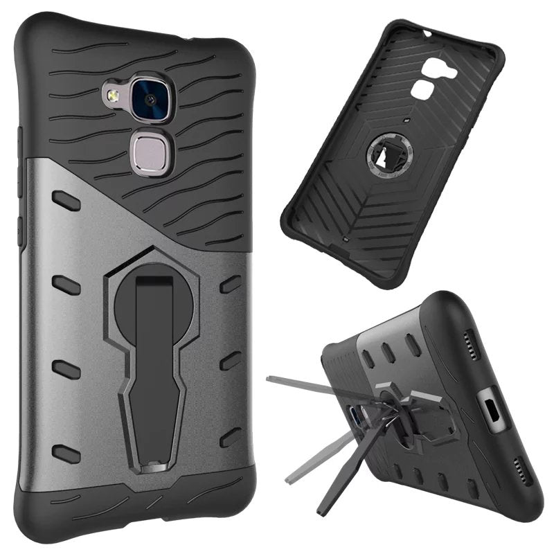Luxury Hybrid Case For Huawei Honor 5C 5 C Hard With Stand Armor Silicon+PC Shockproof Protective Back Cover For Huawei 5c Shell